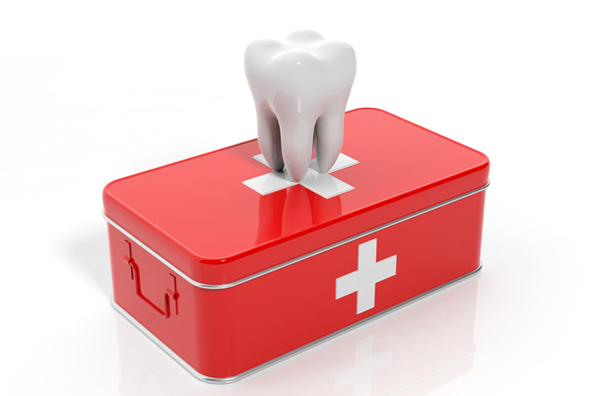 Rendering of a tooth on an emergency kit that represents what is offered at Riverstone Family Dentistry in Vancouver, WA